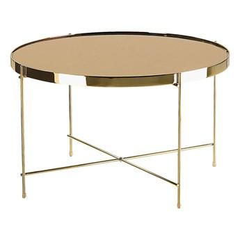 Stolik kawowy złotobrązowy blat z hartowanego szkła złote metalowe nogi okrągły glamour
