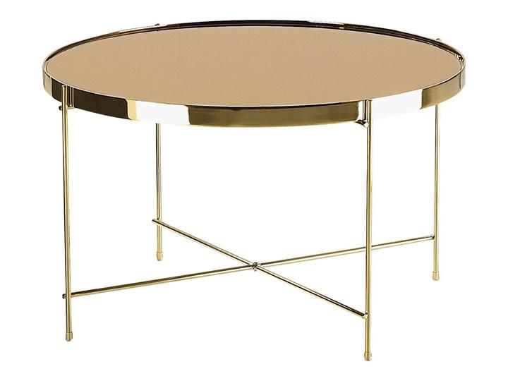 Stolik kawowy złotobrązowy blat z hartowanego szkła złote metalowe nogi okrągły glamour Beliani