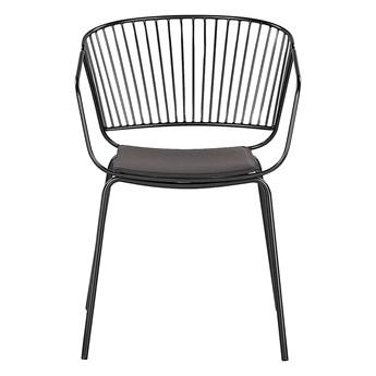 Zestaw 2 krzeseł czarny metalowych z poduszkami na siedzisko z ekoskóry styl nowoczesny