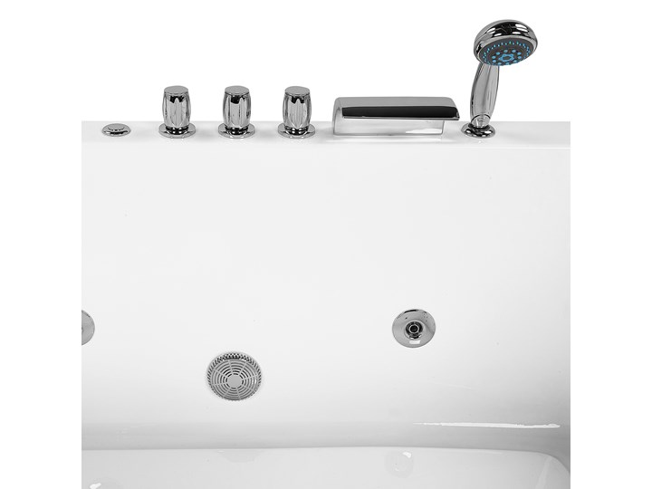 Wanna narożna biała akrylowa 182 x 121 cm lewostronna hydromasaż dysze wodne z zagłówkami Stal Kolor Biały