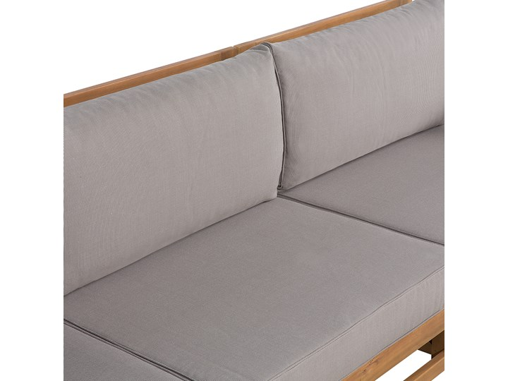 Zestaw mebli ogrodowych jasne drewno akacjowe narożnik szare poduszki stolik kawowy Zestawy kawowe Zestawy wypoczynkowe Kategoria Zestawy mebli ogrodowych Zestawy modułowe Styl Nowoczesny