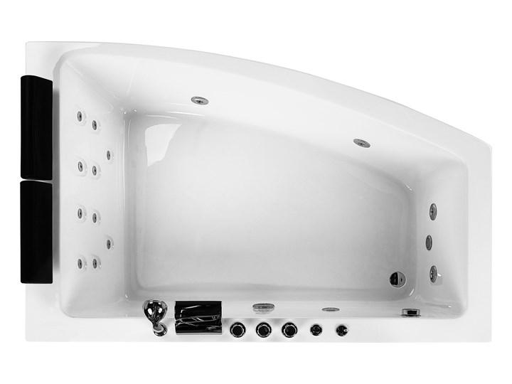 Wanna narożna biała akrylowa 182 x 121 cm lewostronna hydromasaż dysze wodne z zagłówkami Kolor Biały Stal Kategoria Wanny