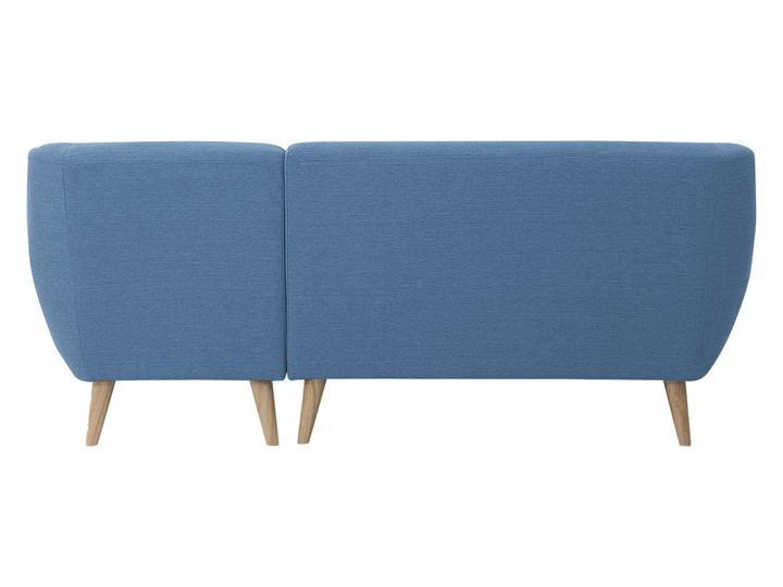 Narożnik lewostronny niebieski 3-osobowy pikowany styl skandynawski Szerokość 182 cm W kształcie L Strona Lewostronne