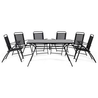 Zestaw mebli ogrodowych czarny stół 140 x 80 cm cztery krzesła metal styl industrialny balkon blat hartowane szkło