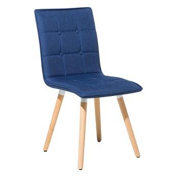 Zestaw 2 krzeseł niebieskich tapicerowanych drewniane nogi do jadalni salonu styl nowoczesny minimalistyczny