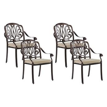 Zestaw 4 krzeseł ogrodowych brązowy aluminium z poduchami vintage