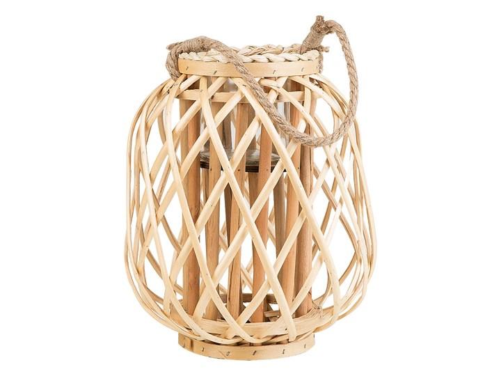 Lampion dekoracyjny jasne drewno 30 cm ozdoba latarenka na świeczkę MAURITIUS Szkło Kategoria Świeczniki i świece Kolor Beżowy