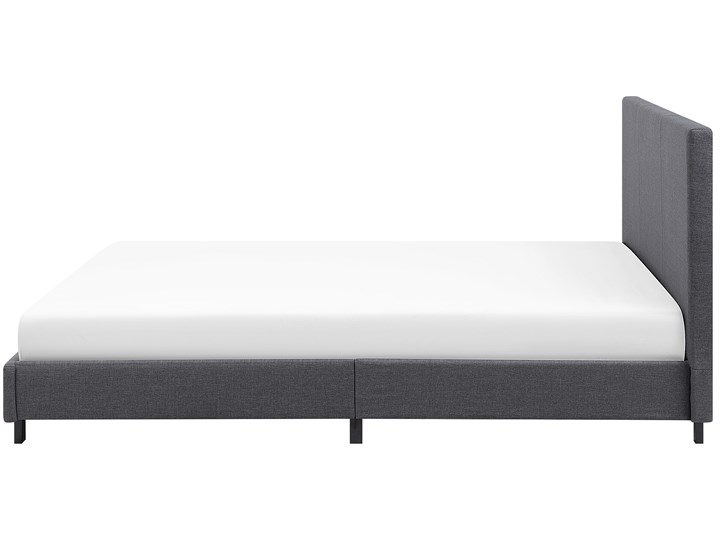 Łóżko szare tapicerowane 160 x 200 cm dwuosobowe ze stelażem i zagłówkiem Łóżko tapicerowane Kategoria Łóżka do sypialni Kolor Szary