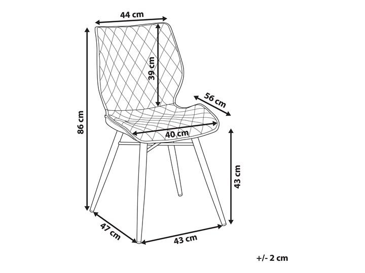 Zestaw 2 krzeseł niebieskich tapicerowanych z metalowymi czarnymi nogami do jadalni styl nowoczesny industrialny Szerokość 44 cm Głębokość 56 cm Tworzywo sztuczne Tapicerowane Tkanina Pikowane Drewno Wysokość 86 cm Styl Vintage