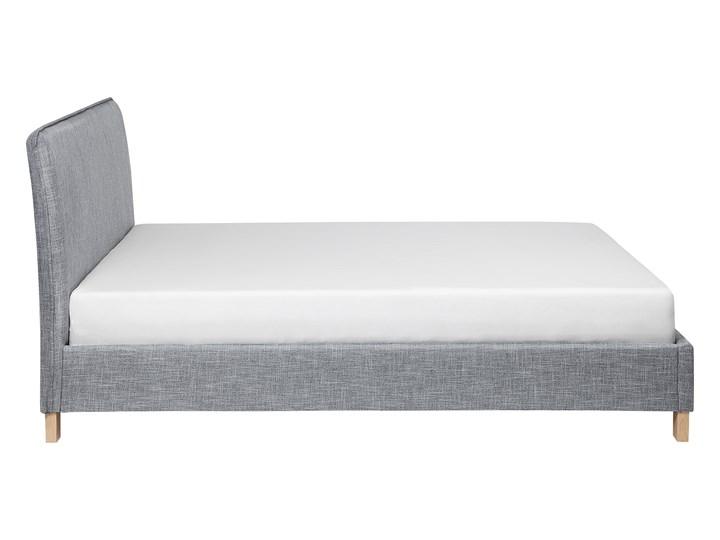 Łóżko szare tapicerowane 160 x 200 cm dwuosobowe ze stelażem i zagłówkiem styl skandynawski Łóżko tapicerowane Kategoria Łóżka do sypialni Kolor Szary