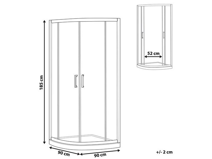 Kabina prysznicowa srebrna szkło hartowane aluminum podwójne drzwi półokrągłe 90x90x185cm nowoczesny design Narożna Rodzaj drzwi Rozsuwane Kategoria Kabiny prysznicowe