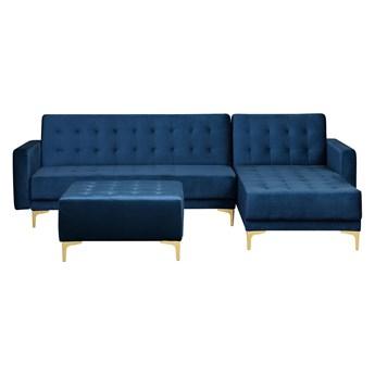 Narożnik rozkładany niebieski welurowy modułowy 4-osobowy z otomaną nowoczesna pikowana granatowa sofa do salonu z szezlongiem lewostronna