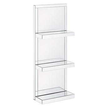 Regał łazienkowy srebrny 3 półki szkło hartowane styl glam dekoracyjny