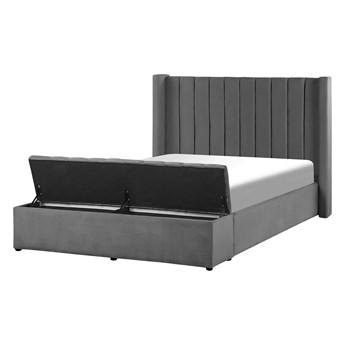 Łóżko ze stelażem szare welurowe 140 x 200 cm wysokie wezgłowie z ławką skrzynią