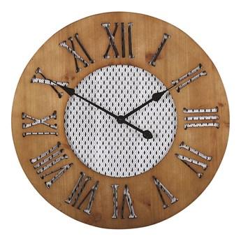 Zegar ścienny ciemne drewno okrągły ø 60 cm ręcznie wykonany tarcza w romby