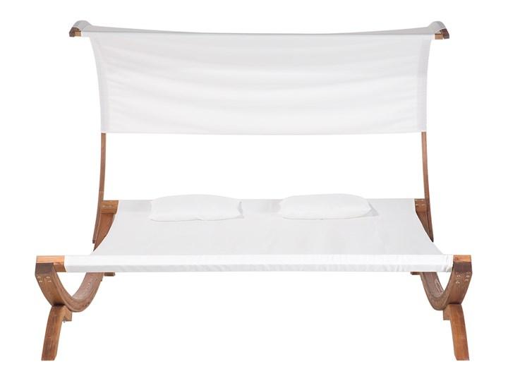 Leżak ogrodowy biały drewno modrzewiowe 2-osobowy zadaszony nowoczesny Kolor Brązowy