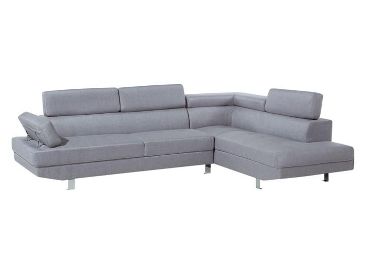 Narożnik lewostronny jasnoszary tapicerowany 5 osobowa sofa z regulowanymi zagłówkami Szerokość 261 cm Typ Gładkie