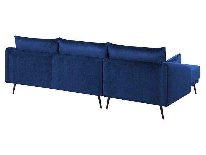 Narożnik prawostronny niebieski welurowy kolorowy LED 3-osobowy 2 poduszki dekoracyjne styl nowoczesny W kształcie L Kolor Wielokolorowy