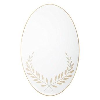 Owalne lustro ścienne złote rama 59 x 83 cm wzór gałązek oliwnych łazienka salon styl retro