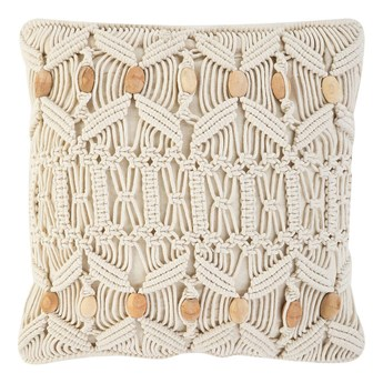 Poduszka dekoracyjna beżowa makrama pleciona 45 x 45 cm z wypełnieniem ozdobny sznurek akcesoria boho retro salon sypialnia