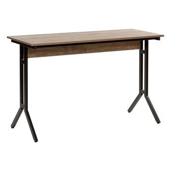 Biurko brązowoszare drewno 120 x 48 cm czarna metalowa rama styl industrialny
