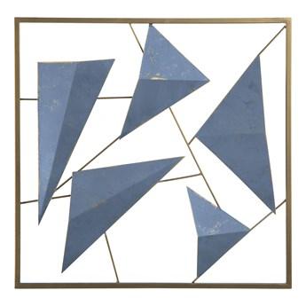 Dekoracja ścienna złoto-niebieska geometryczna 3D ozdobna styl nowoczesny marinistyczny