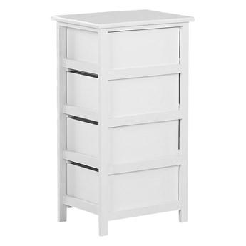 Komoda biała drewno MDF 73 x 40 cm cztery szuflady z sercami szafka do sypialni pokoju dziecięcego styl skandynawski