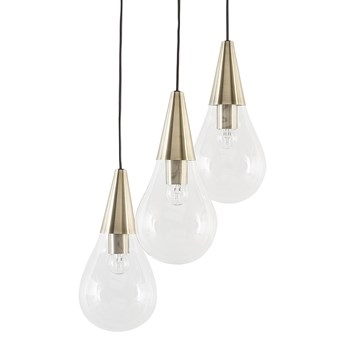 Lampa sufitowa mosiężna szklana 118 cm miedziany akcent 3 klosze kształt kropli nowoczesna