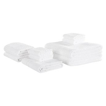 Komplet 9 ręczników biały bawełna zero twist ręczniki dla gości do rąk kąpielowy i mata łazienkowa Beliani