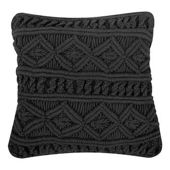 Poduszka dekoracyjna czarna bawełniana makrama pleciona 45 x 45 cm z wypełnieniem ozdobny sznurek akcesoria boho retro salon sypialnia