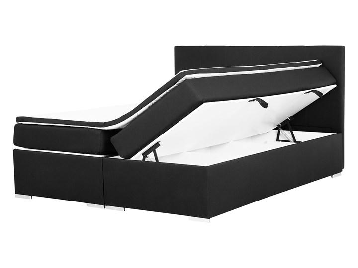 Łóżko kontynentalne z pojemnikiem i materacem czarne tapicerowane materiałem 160 x 200 cm retro design Łóżko tapicerowane Kolor Czarny