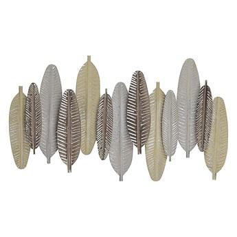 Dekoracja ścienna pióra srebrno-złota metalowa ozdobna styl industrialny nowoczesny