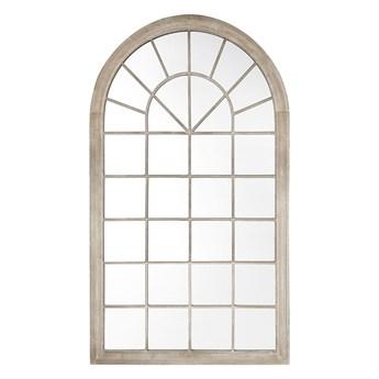Lustro ścienne wiszące beżowe 76 x 130 cm w kształcie łukowego okna styl vintage