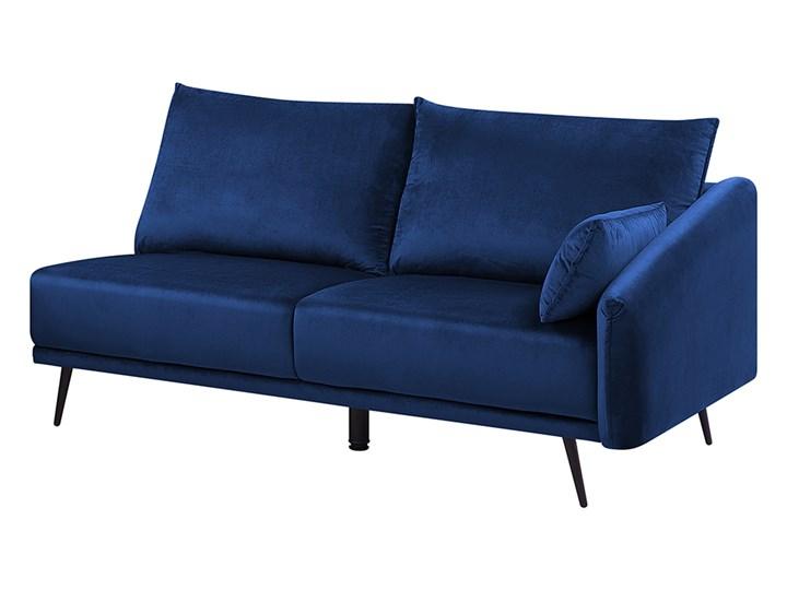 Narożnik prawostronny niebieski welurowy kolorowy LED 3-osobowy 2 poduszki dekoracyjne styl nowoczesny W kształcie L Funkcje Z szezlongiem Kategoria Narożniki