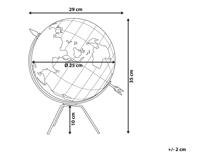 Figurka dekoracyjna globus brązowy korek 25 cm Globusy Kolor Czarny Metal Kategoria Figury i rzeźby