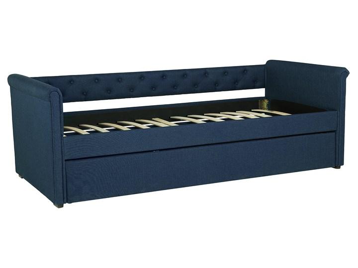 Łóżko dziecięce wysuwane ze stelażem ciemnoniebieskie tapicerowane tkaniną pikowane oparcie 90 x 200 cm Kategoria Łóżka dla dzieci Tworzywo sztuczne Drewno Rozmiar materaca 90x200 cm
