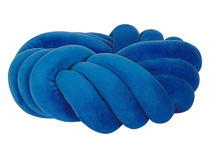 Poduszka supeł niebieska welurowa 30 x 30 cm wiązna pleciona nowoczesna Kolor Poliester Poduszka dekoracyjna 30x30 cm Pomieszczenie Salon
