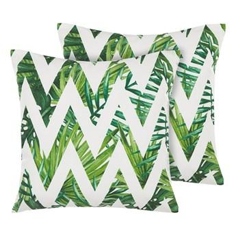Poduszki ogrodowe białe z zielonym poliester kwadratowe 45 cm zygzak wzór w liście  Beliani
