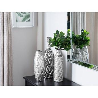 Wazon dekoracyjny srebrny ceramiczny na kwiaty 34 cm