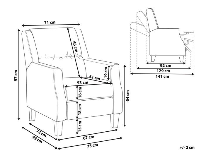 Rozkładany fotel telewizyjny szary tapicerownany welurem rozkładane oparcie i podnóżek retro design Tworzywo sztuczne Drewno Tkanina Styl Klasyczny Fotel rozkładany Fotel inspirowany Pomieszczenie Salon
