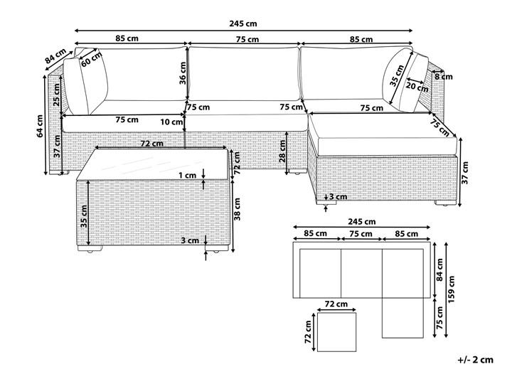 Zestaw mebli ogrodowych szary technorattan 4-osobowy narożnik szare poduchy stolik Aluminium Tworzywo sztuczne Zestawy modułowe Zestawy kawowe Zestawy wypoczynkowe Styl Nowoczesny