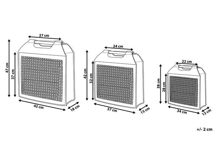 Zestaw 3 koszy tekstylnych szary filc i drewno 47/42/38 cm z uchwytami Typ Zestawy Tworzywo sztuczne Kategoria Pojemniki i puszki