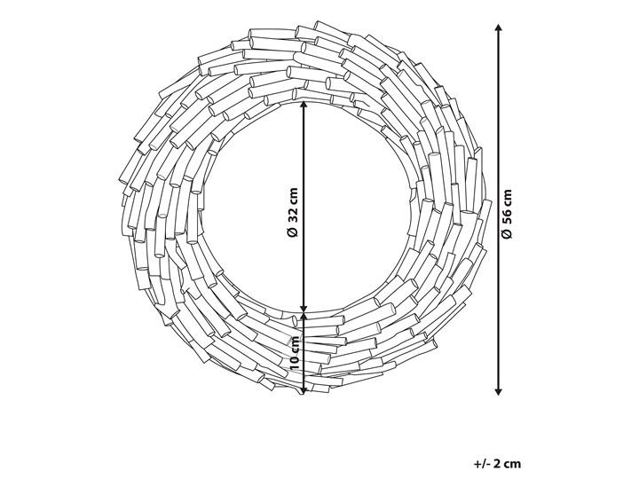 Dekoracyjne lustro ścienne jasne drewno ø 56 okrągłe cm rama styl rustykalny Lustro z ramą Pomieszczenie Salon