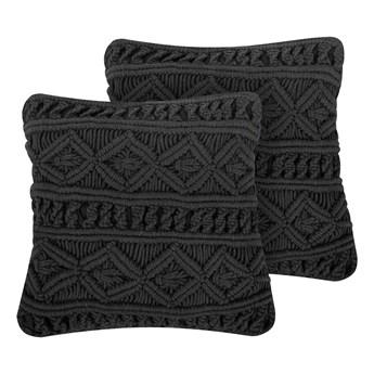 Zestaw poduszek dekoracyjnych czarnych bawełnianych makrama plecione 45 x 45 cm z wypełnieniem akcesoria boho salon sypialnia