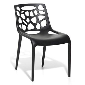 Krzesło kuchenne do jadalni i ogrodu czarne plastikowe nowoczesny design mebel zewnętrzny i wewnętrzny