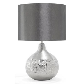 Lampa stołowa srebrna porcelanowa 43 cm dekoracyjna rzeźbiona podstawa glamour