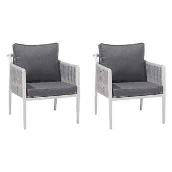 Zestaw 2 krzeseł ogrodowych biały aluminiowy szare poduszki na balkon taras nowoczesny design