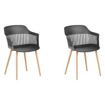 Zestaw 2 krzeseł do jadalni czarny tworzywo sztuczne metalowe nogi ażurowe oparcie nowoczesny