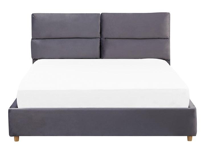 Łóżko z pojemnikiem szare welurowa tapicerka 140 x 200 cm podwójne ze schowkiem podnoszone Łóżko tapicerowane Kategoria Łóżka do sypialni Kolor Szary