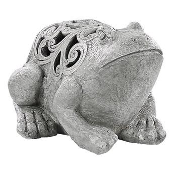 Figurka ogrodowa dekoracja szara z tworzywa sztucznego żaba ozdoba na ganek